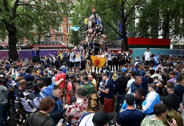 Football fans gathered in large numbers in Leicester Square before the UEFA Euro 2020 match between England and Scotland