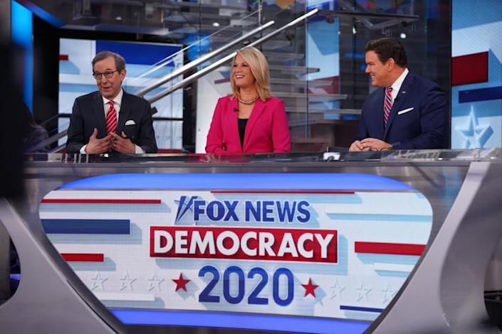 """""""Fox News Sunday"""" host Chris Wallace with co-anchors Martha MacCallum and Bret Baier on the set of Fox News Channel's Super Tuesday coverage in New York."""
