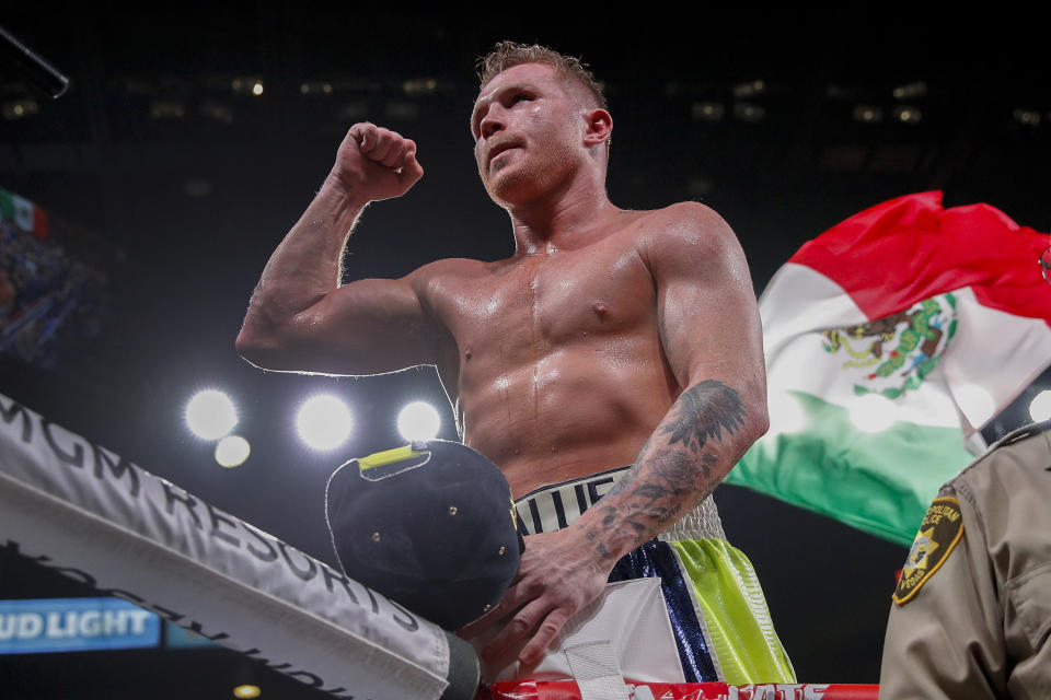 Canelo Alvarez celebrates after defeating Sergey Kovalev by knockout in a light heavyweight WBO title bout.