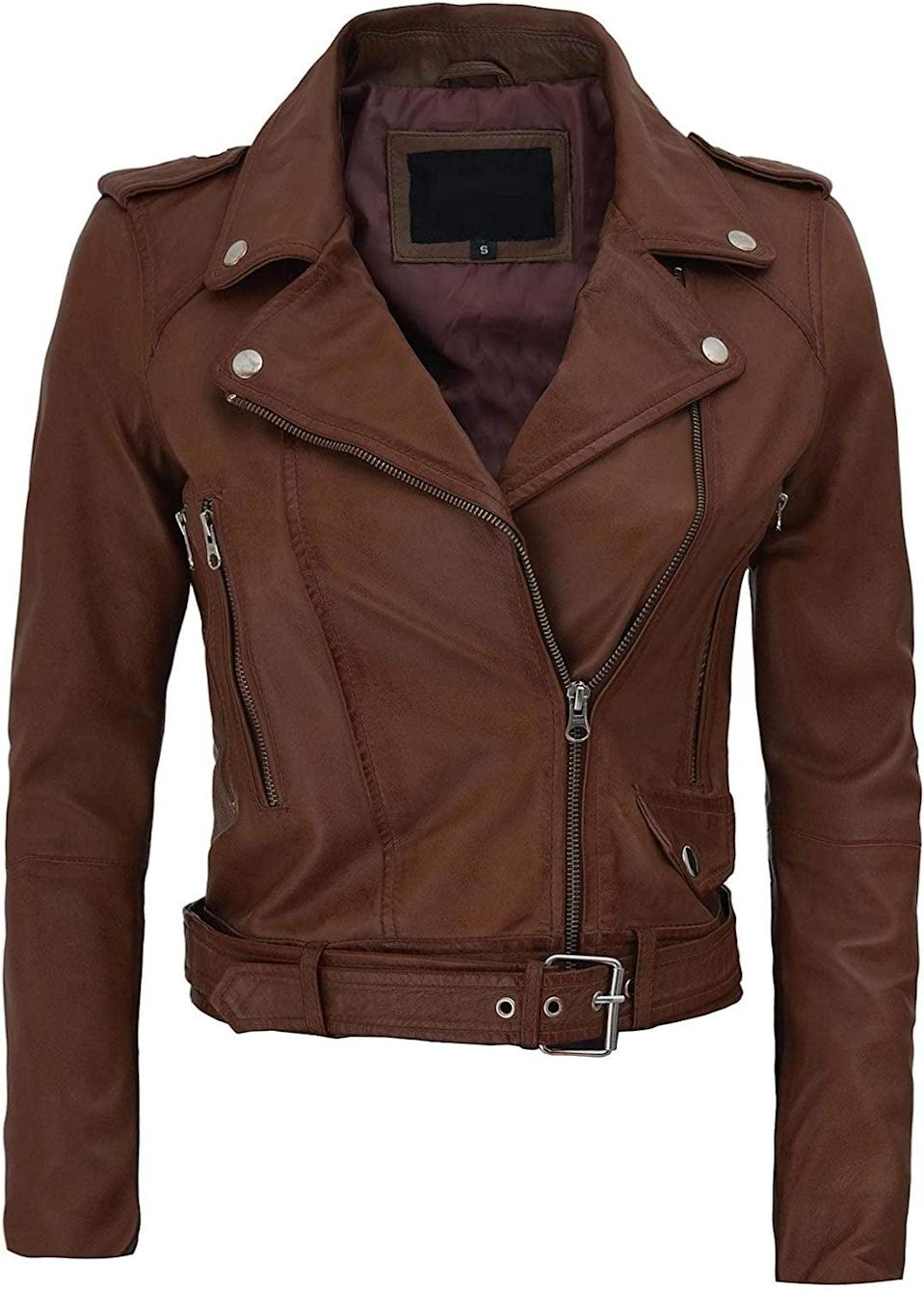 <p>This <span>Blingsoul Leather Jacket</span> ($169) is edgy and cool.</p>