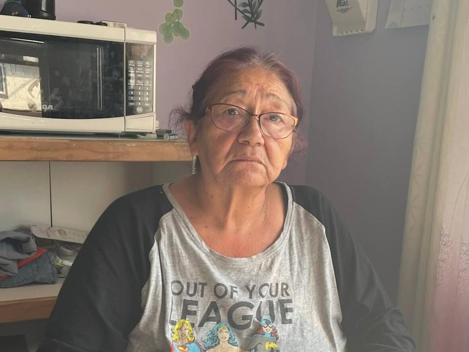 Regina great-grandmother Debbie McKenzie-Pelletier has seen her benefits drastically reduced under the Saskatchewan Income Support (SIS) program, which came fully into effect at the end of August. (Janani Whitfield/CBC - image credit)
