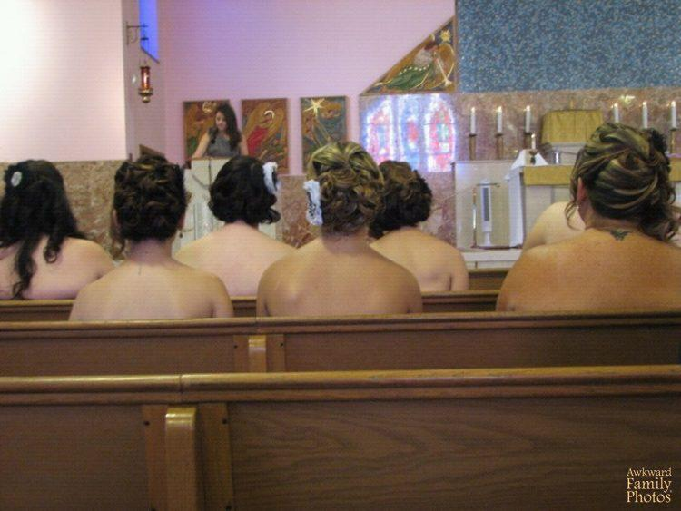 "<p>""This is the lovely view enjoyed by those who attended my sister's Catholic Church wedding who sat on the bride's side. An unintended consequence of (mostly) strapless gowns!"" [Photo: Awkward Family Photos] </p>"