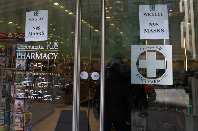 A pharmacy with N95 face masks for sale is pictured in advance of the potential coronavirus outbreak in the Manhattan borough of New York City
