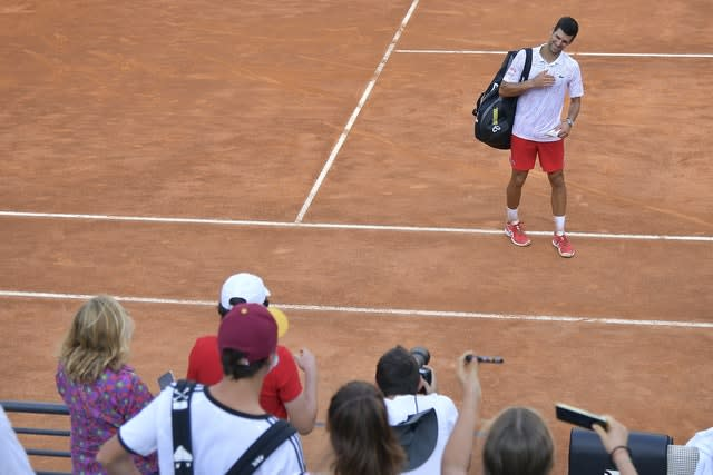 A crowd of 1,000 watched Novak Djokovic secure a spot in the final of the Italian Open, but Rafael Nadal was dumped out of the tournament in the quarter-final stage