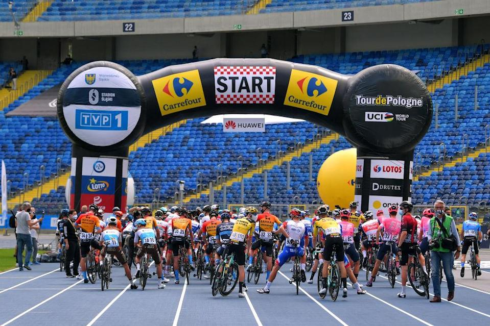 Riders at the start of stage 1 of the Tour de Pologne
