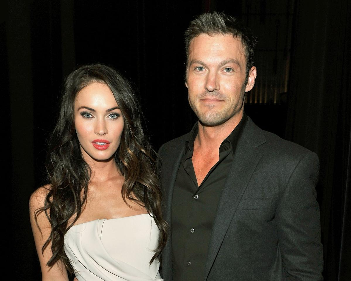 """<p><a href=""""https://www.usmagazine.com/celebrity-news/news/brian-austin-green-initially-turned-down-a-persistent-megan-fox/"""" target=""""_blank"""" class=""""ga-track"""" data-ga-category=""""Related"""" data-ga-label=""""https://www.usmagazine.com/celebrity-news/news/brian-austin-green-initially-turned-down-a-persistent-megan-fox/"""" data-ga-action=""""In-Line Links"""">Megan and Brian first met on the set of <strong>Hope and Faith</strong></a>, and they began dating in 2004. """"I met Megan on that, and she was really young. And I was like, 'This isn't this. This can't f*cking happen. This isn't going to happen, no way.' And so I left and she was just really persistent - and thank God,"""" Brian previously said on Barstool Sports' <strong>KFC Radio</strong> podcast. </p> <p>The duo got engaged in 2006, though <a href=""""https://www.eonline.com/news/1153755/look-back-at-megan-fox-and-brian-austin-green-s-relationship-highs-and-lows#photo-1093183"""" target=""""_blank"""" class=""""ga-track"""" data-ga-category=""""Related"""" data-ga-label=""""https://www.eonline.com/news/1153755/look-back-at-megan-fox-and-brian-austin-green-s-relationship-highs-and-lows#photo-1093183"""" data-ga-action=""""In-Line Links"""">they briefly broke up in 2009</a> before eventually <a href=""""https://www.popsugar.com/celebrity/Megan-Fox-Brian-Austin-Green-Cutest-Pictures-35067987"""" class=""""ga-track"""" data-ga-category=""""Related"""" data-ga-label=""""https://www.popsugar.com/celebrity/Megan-Fox-Brian-Austin-Green-Cutest-Pictures-35067987"""" data-ga-action=""""In-Line Links"""">tying the knot in June 2010</a>. In 2012, <a href=""""https://www.popsugar.com/celebrity/Megan-Fox-Gives-Birth-Baby-Boy-Noah-25488972"""" class=""""ga-track"""" data-ga-category=""""Related"""" data-ga-label=""""https://www.popsugar.com/celebrity/Megan-Fox-Gives-Birth-Baby-Boy-Noah-25488972"""" data-ga-action=""""In-Line Links"""">they became parents to their son Noah</a>, before <a href=""""https://www.popsugar.com/celebrity/Megan-Fox-Gives-Birth-Her-Third-Child-2016-42195109"""" class=""""ga-track"""" data-ga-category=""""Related"""" data-ga-label=""""ht"""