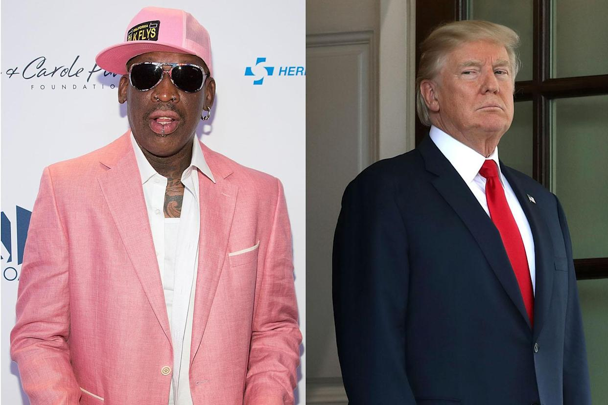 Donald Trump's presidential reality show continues with a cameo from Dennis Rodman. (Photo: Getty Images)