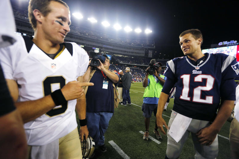 New Orleans Saints quarterback Drew Brees (9) will meet up with new Tampa Bay Buccaneers quarterback Tom Brady (12) in Week 1. (AP Photo/Michael Dwyer, File)