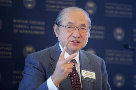 Kojima, chairman of board of Mitsubishi Corporation, speaks at Boston College Chief Executives' Club of Boston luncheon in Boston