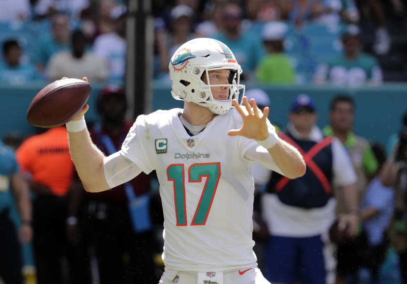 Miami Dolphins quarterback Ryan Tannehill prepares to pass during the first half of an NFL football game against the Oakland Raiders, Sunday, Sept. 23, 2018, in Miami Gardens, Fla. (AP Photo/Lynne Sladky)
