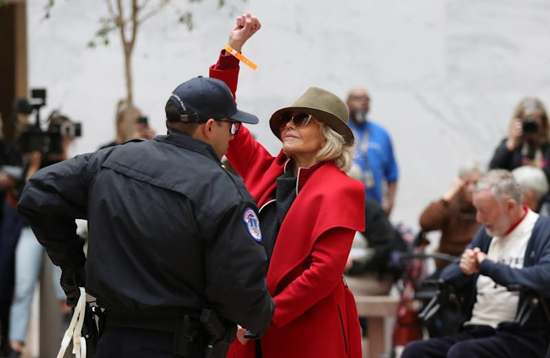 "Jane Fonda is seen being arrested during a ""Fire Drill Fridays"" climate change protest in November. Now she's speaking out about her experiences, and going viral for a gay-rights discussion from 1979. (Photo: REUTERS/Siphiwe Sibeko)"