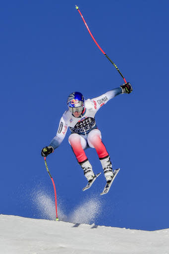 France's Alexis Pinturault speeds down the slope during training for an alpine ski, men's World Cup downhill in Wengen, Switzerland, Thursday, Jan. 16, 2020. (AP Photo/Marco Tacca)
