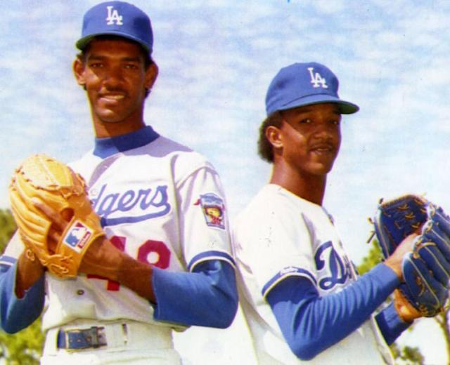 """Ramon Martinez, left, shown alongside brother Pedro with the Dodgers in 1992, three years before his no-hitter. <span class=""""copyright"""">(File photo)</span>"""
