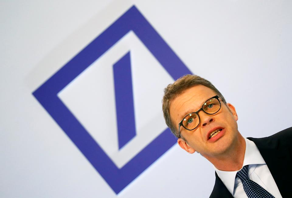 Christian Sewing, CEO of Deutsche Bank AG, addresses the media during the bank's annual news conference in Frankfurt, Germany, February 1, 2019. REUTERS/Kai Pfaffenbach