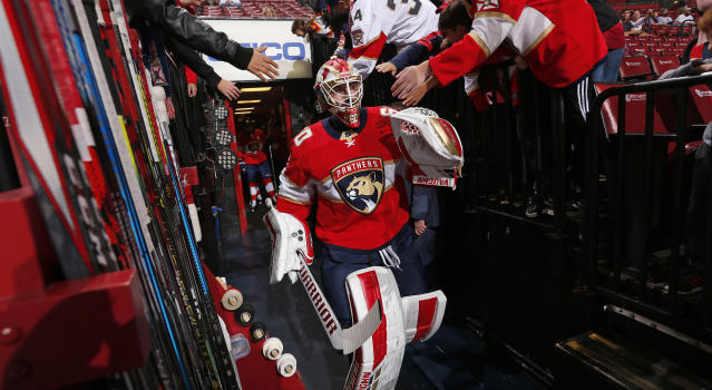 Chris Driedger took advantage of his opportunity on Saturday night as the Florida Panthers' $70 million man continues to struggle this season. (Photo by Eliot J. Schechter/NHLI via Getty Images)
