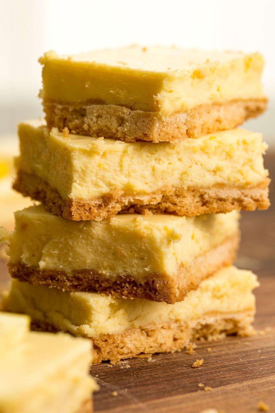 """<p>Lemon bars can only stand to get better with the addition of cheesecake. But then again, doesn't everything? </p><p>Get the recipe from <a href=""""https://www.delish.com/cooking/recipes/a46336/lemon-cheesecake-bars/"""" rel=""""nofollow noopener"""" target=""""_blank"""" data-ylk=""""slk:Delish"""" class=""""link rapid-noclick-resp"""">Delish</a>.</p>"""