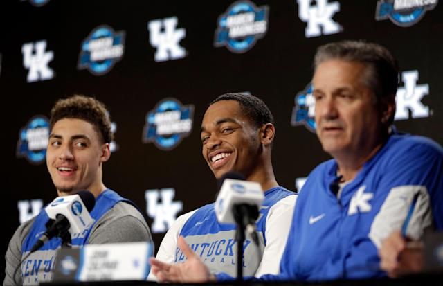 Kentucky coach John Calipari had his players entertained during an NCAA tournament news conference Saturday. (AP)