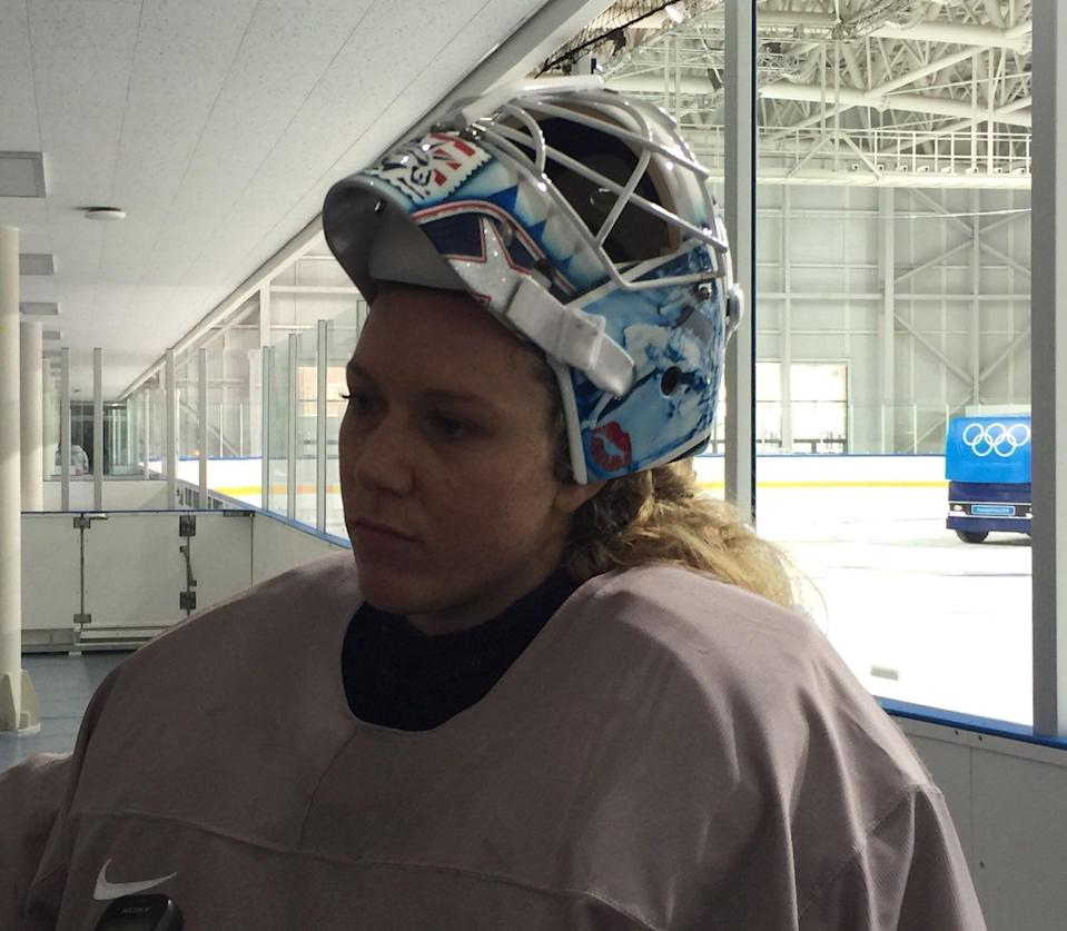 Alex Rigsby was proud of her new helmet. Now, she might have to remove the Statue of Liberty from it. (Eric Adelson)