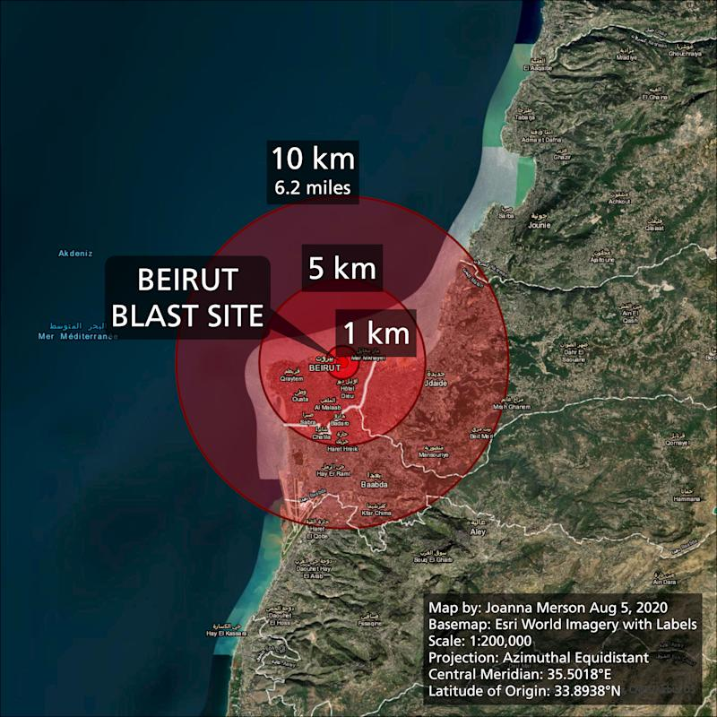 The damage radius of the explosion in Beirut. (Joanna Merson)