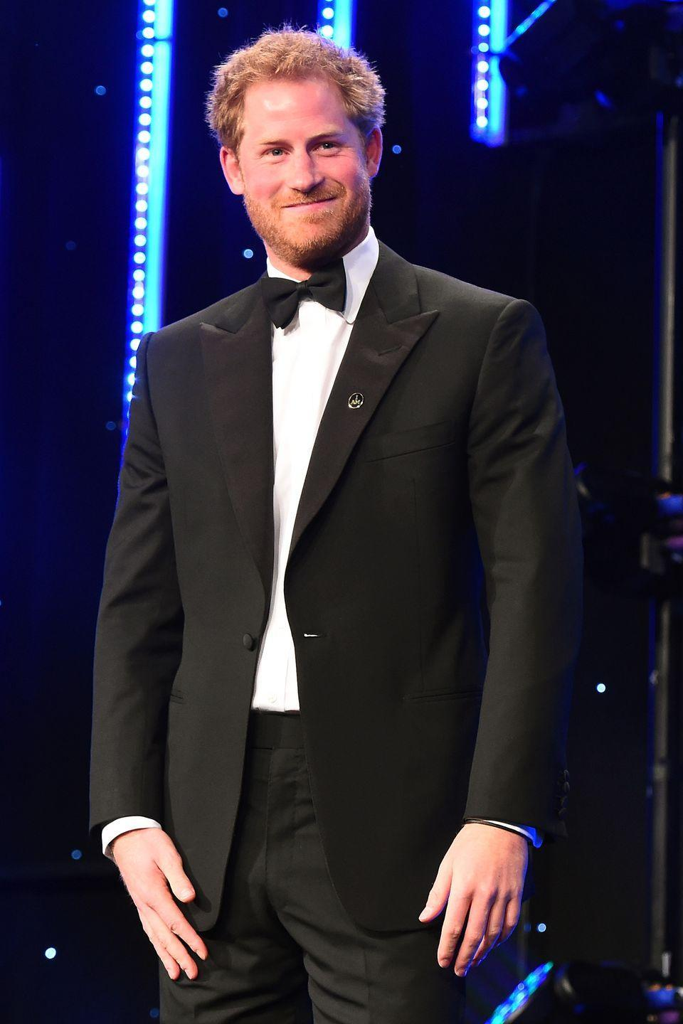 <p>The prince smiles onstage during the BT Sport Industry Awards in London.</p>