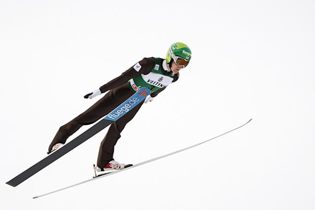 Lahti Ski Games - FIS Nordic World Cup - Men's Ski Jumping - Lahti, Finland - March 4, 2018. Andreas Alamommo of Finland competes. LEHTIKUVA/Roni Rekomaa via REUTERS ATTENTION EDITORS - THIS IMAGE WAS PROVIDED BY A THIRD PARTY. NO THIRD PARTY SALES. NOT FOR USE BY REUTERS THIRD PARTY DISTRIBUTORS. FINLAND OUT. NO COMMERCIAL OR EDITORIAL SALES IN FINLAND.