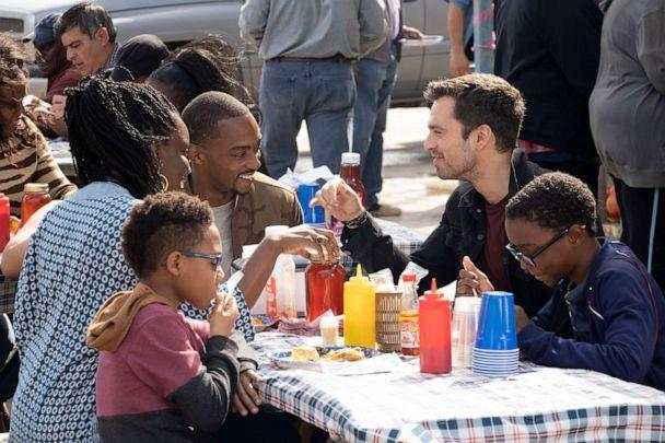 PHOTO: Adepero Oduye, Anthony Mackie and Sebastian Stan appear in Marvel Studios' 'The Falcon and the Winter Soldier,' on Disney+. (Chuck Zlotnick/Marvel Studios)