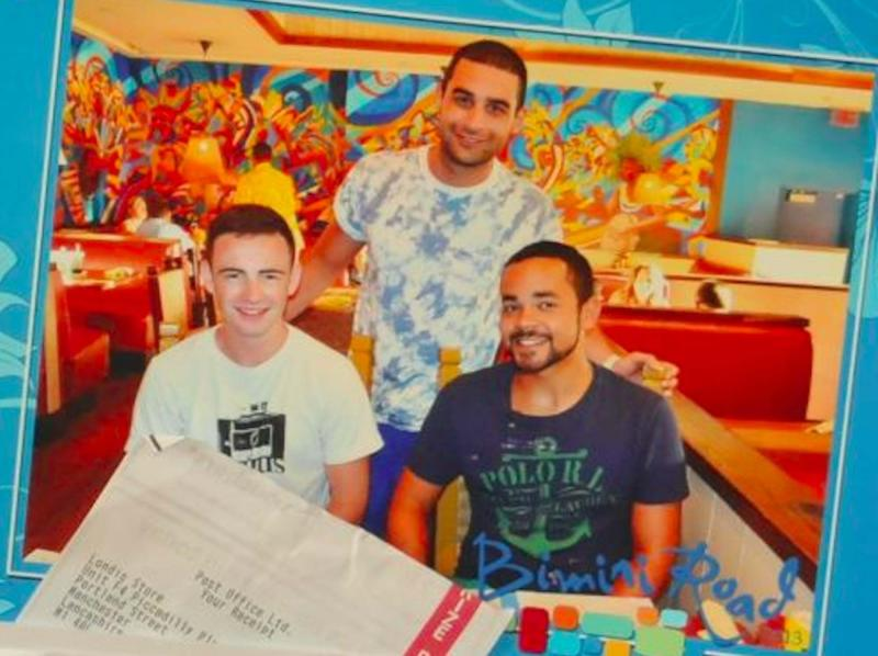 ames Roden, 25, Basil Assaf, 26, and Joshua Morgan, 28, on holiday in the Bahamas in July 2012 (PA)