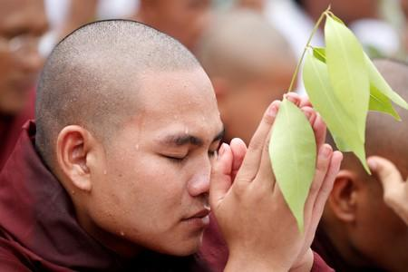 A supporter of a hard-line Buddhist monk Wirathu prays at Shwedagon Pagoda in Yangon, following the monk's arrest warrant on a charge of sedition in Yangon