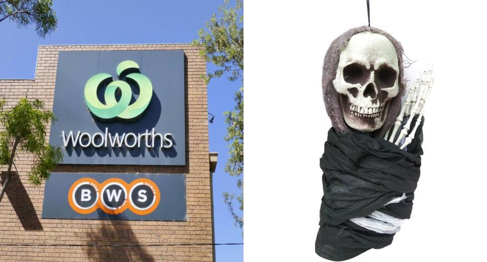 Woolworths store (left) grim reaper decoration (right). Source: Getty Images (left), Woolworths website (right)