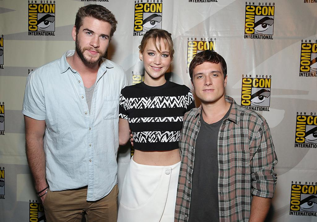 Liam Hemsworth, Jennifer Lawrence and Josh Hutcherson seen at Lionsgate Presentation at 2013 Comic-Con, on Saturday, July, 20, 2013 in San Diego, Calif. (Photo by Eric Charbonneau/Invision for Lionsgate/AP Images)