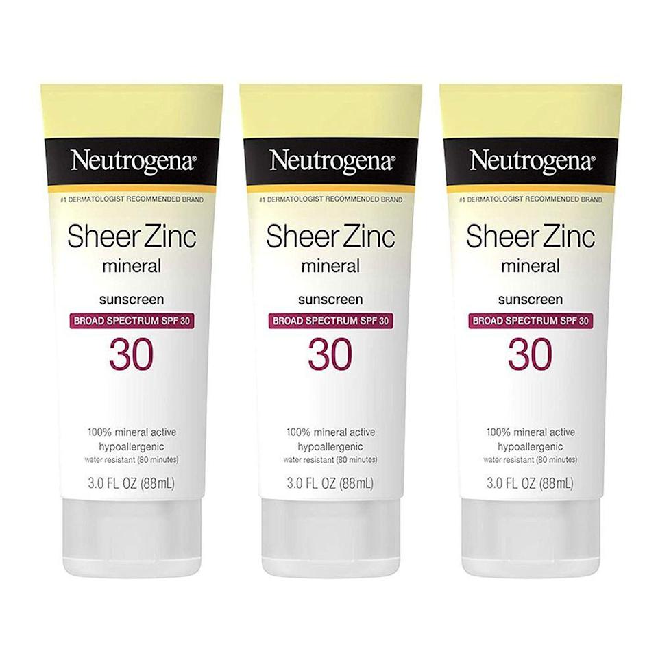 """<p><strong>Neutrogena</strong></p><p>amazon.com</p><p><strong>$10.97</strong></p><p><a href=""""https://www.amazon.com/dp/B01HOHBO7E?tag=syn-yahoo-20&ascsubtag=%5Bartid%7C2139.g.32581649%5Bsrc%7Cyahoo-us"""" rel=""""nofollow noopener"""" target=""""_blank"""" data-ylk=""""slk:BUY IT HERE"""" class=""""link rapid-noclick-resp"""">BUY IT HERE</a></p><p>""""Neutrogena makes a lot of good zinc sunscreens and has good science behind it,"""" says Dr. Bhanusali. We're partial to this zinc formula which goes on smooth and dries to a powdery finish that doesn't leave you with a grey film or sticky feeling (there is also a version specifically for your face). </p>"""