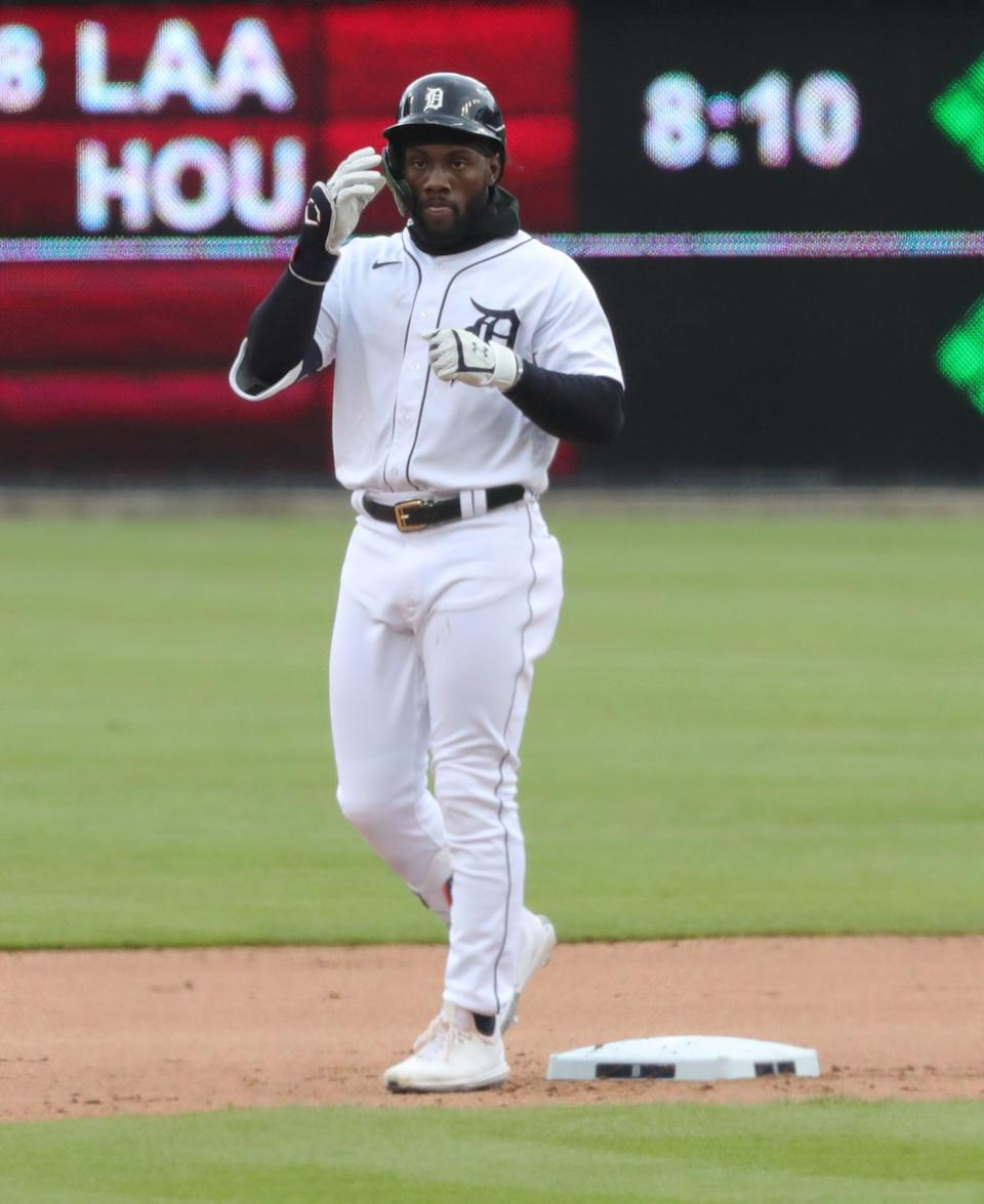 Detroit Tigers' Akil Baddoo after doubling against the Pittsburgh Pirates on Thursday, April 22, 2021 at Comerica Park.