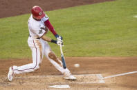 Washington Nationals' Trea Turner hits a single during the fifth inning of a baseball game against the Baltimore Orioles in Washington, Saturday, Aug. 8, 2020. (AP Photo/Manuel Balce Ceneta)