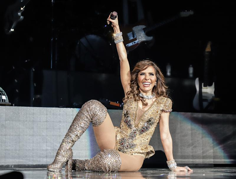 MIAMI, FL - OCTOBER 04: Gloria Trevi performs during her Diosa de La Noche Tour at American Airlines Arena on October 4, 2019 in Miami, Florida. (Photo by John Parra/Getty Images)
