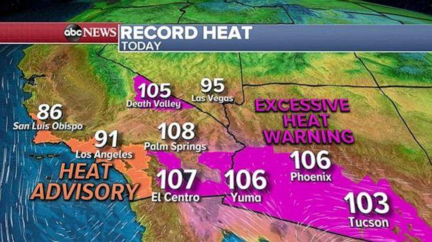PHOTO: Record heat continues in the Southwest with Heat Advisories and Warnings from Los Angeles to Phoenix. (ABC News)
