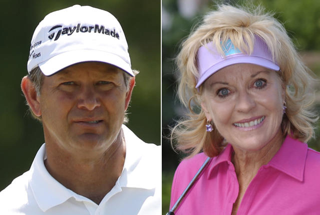 FILE - At left is a 2018 file photo showing Retief Goosen. At right is a 2003 file photo showing Jan Stephenson. Two-time U.S. Open champion Retief Goosen and three-time major champion Jan Stephenson are among five people selected for induction into the World Golf Hall of Fame. (AP Photo/File)