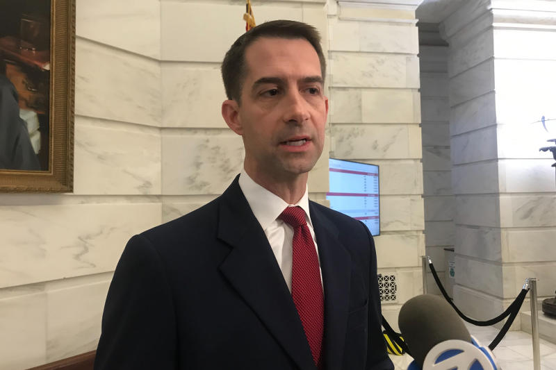 FILE - In this Nov. 4, 2019 file photo, Republican U.S. Sen. Tom Cotton talks to reporters after filing for re-election at the Arkansas state Capitol in Little Rock, Arkansas. Josh Mahony, the Democratic candidate hoping to unseat Cotton in Arkansas has dropped out of the race, citing a family health concern. Josh Mahony announced on Twitter Tuesday, Nov. 12, 2019, that he was dropping out of the race, hours after the filing deadline for Arkansas expired. Mahony was the only Democrat who had filed to run against Cotton. (AP Photo/Andrew Demillo. File)