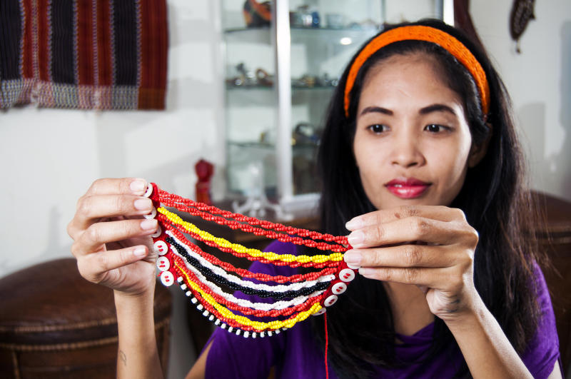 An example of an Ifugao beaded hairpiece. (Tom Cockrem via Getty Images)