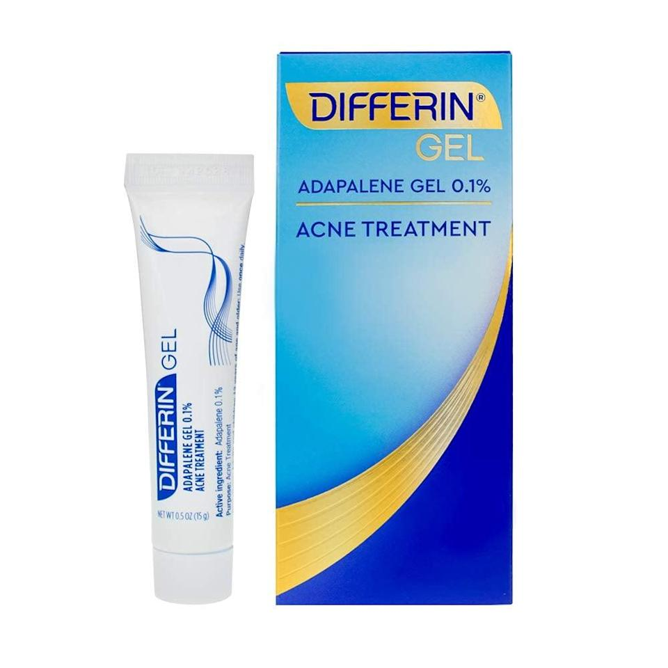 """<p>""""My favorite drugstore retinol is <span>Differin Adapalene Gel 0.1%</span> ($15). It not only works wonders for acne, but for antiaging, too. Retinol, a derivative of vitamin A, encourages cell turnover and has been scientifically proven to stimulate collagen and elastin, improve the appearance of wrinkles, and diminish brown spots. Be careful not to use it too often when you first include it in your skin-care routine. Use it one to two times a week at night and slowly use it more frequently over a couple of weeks. If you use too much too soon, you can dry and irritate your skin, making acne worse."""" - <a href=""""https://www.sarahakram.com/"""" class=""""link rapid-noclick-resp"""" rel=""""nofollow noopener"""" target=""""_blank"""" data-ylk=""""slk:Sarah Akram"""">Sarah Akram</a>, celebrity aesthetician</p>"""