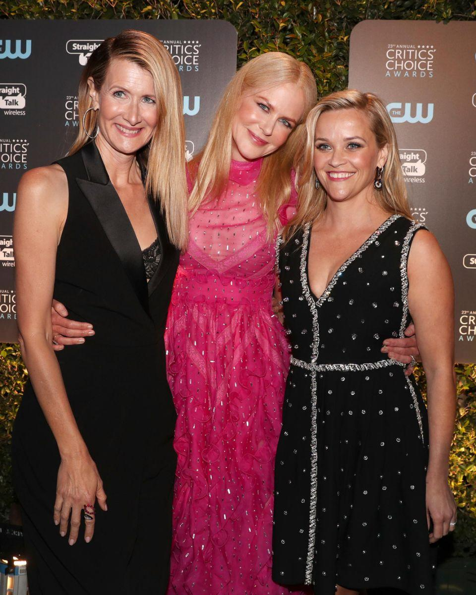 Nicole pictured with her Big Little Lies co-stars Reese Witherspoon and Laura Dern. Source: Getty