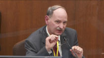 In this image taken from video, witness Dr. Bill Smock, a Louisville physician in forensic medicine, testifies as Hennepin County Judge Peter Cahill presides, Thursday, April 8, 2021, in the trial of former Minneapolis police Officer Derek Chauvin at the Hennepin County Courthouse in Minneapolis. Chauvin is charged in the May 25, 2020, death of George Floyd. (Court TV via AP, Pool)