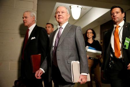 U.S. Attorney General Jeff Sessions arrives for closed door interview with the House Intelligence Committee on Capitol in Washington, U.S., November 30, 2017. REUTERS/Joshua Roberts