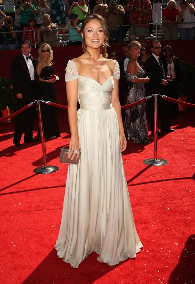 Olivia Wilde wearing Reem Acra at the 60th Primetime Emmy Awards at the Nokia Theater on September 21, 2008 in Los Angeles, California. Photo courtesy of Getty Images.