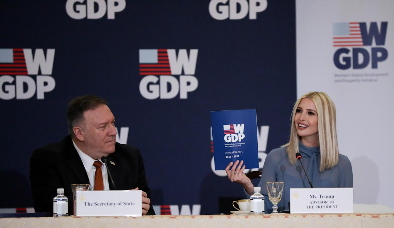 WASHINGTON, USA - FEBRUARY 12: U.S. President Donald Trump's daughter and advisor Ivanka Trump (R) hosts an event to mark the first anniversary of the Women's Global Development and Prosperity Initiative (W-GDP) Initiative in the Franklin Room of the Department of State in Washington, United States on February 12, 2020. U.S. Secretary of State Mike Pompeo (L) also attended the event. (Photo by Yasin Ozturk/Anadolu Agency via Getty Images)