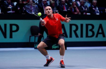 Tennis - Davis Cup Final - France vs Belgium - Stade Pierre Mauroy, Lille, France - November 26, 2017 Belgium's Steve Darcis in action during his match against France's Lucas Pouille REUTERS/Yves Herman