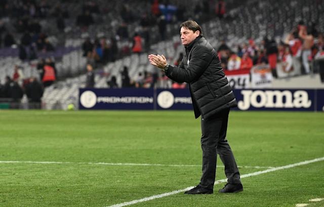 Soccer Football - Ligue 1 - Toulouse vs AS Monaco - Stadium Municipal de Toulouse, Toulouse, France - February 24, 2018 Toulouse coach Mickael Debeve REUTERS/Fred Lancelot