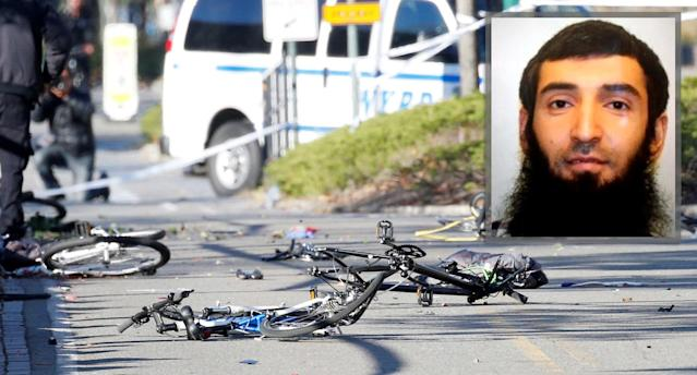 An inset photo of Sayfullah Saipov on the scene of multiple bikes crushed along a bike path in lower Manhattan in New York City on Oct. 31, 2017. (Photo: Brendan McDermid/Reuters/ABC)