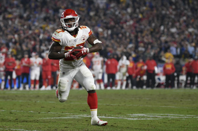 File- This Nov. 19, 2018, file photo shows Kansas City Chiefs running back Kareem Hunt in action during the second half of an NFL football game against the Los Angeles Rams in Los Angeles. The lasting image of Kareem Hunts second NFL season wasnt him stiff-arming a linebacker, shedding a tackle or barreling over a cornerback at the goal line for a touchdown. It was him pushing a woman and then kicking her while she was defenseless on the floor. That disturbing moment caught on surveillance video mortified the sports world. The Cleveland Browns believe it was a random act by a young man who feels remorse and deserves a second chance. (AP Photo/Kelvin Kuo, File)