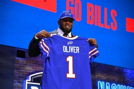 Apr 25, 2019; Nashville, TN, USA; Ed Oliver (Houston) is selected as the number nine overall pick to the Denver Broncos in the first round of the 2019 NFL Draft in Downtown Nashville. Mandatory Credit: Christopher Hanewinckel-USA TODAY Sports