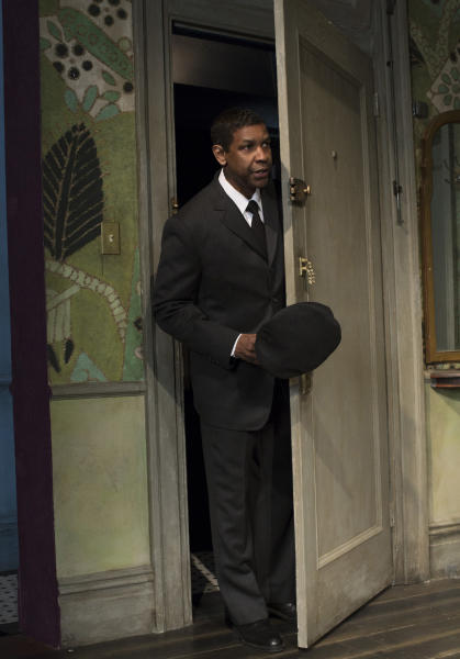 """This image released by Philip Rinaldi Publicity shows Denzel Washington during a performance of """"A Raisin in the Sun,"""" at the Ethel Barrymore Theatre in New York. (AP Photo/Philip Rinaldi Publicity, Brigitte Lacombe)"""